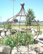 Wrought Iron Bob Topiary Plant Trellis Obelisks, Garden Flower Support
