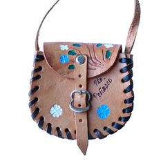 Mini Mexican Leather Tooled Purse - Winter Florals | www.shopsweetthreads.com