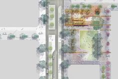 The public recreational space, Dyuralya Square,will feature garden rooms, a water play park, landscaped terraces, a cafe, native plants and trees and a large lawn.
