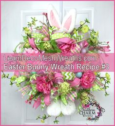 "Easter Bunny Wreath Recipe..In her ebook, www.learndecomeshwreaths.com she gives different ""wreath recipes"" this Easter Bunny Wreath is one of them. I love learning where she buys her materials and how to attach them to the wreaths. #DIY #Easter #Wreath #bunny"