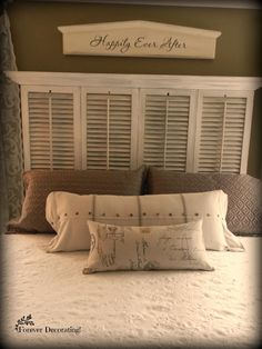 Old Shutters Are Repurposed Into Beautiful Planter Boxes - They Were Just Ugly O. Old Shutters Are Repurposed Into Beautiful Planter Boxes - They Were Just Ugly O. Old Shutters Are Repurposed Into Decor, Door Headboard, Shutters Repurposed, Home, Headboard, Bedroom Makeover, Bedroom Design, Diy Shutters, Furniture