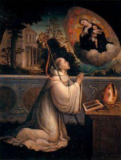 Vision of St Bernard.Juan Correa de Vivar.s XVI.Museo del Prado.Madrid.