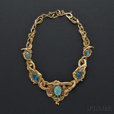 Art Nouveau 18kt Gold, Opal, and Demantoid Garnet Necklace