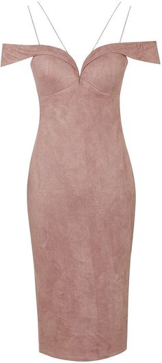 Womens pink beige faux suede bardot midi dress by rare from Topshop - £49 at ClothingByColour.com