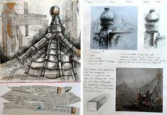 GCSE Art architectural structure - mixed media sketchbook page by Samantha Li