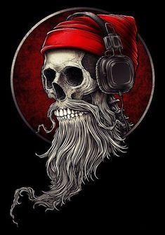 Skull Artwork, Skull Painting, Skull Wallpaper, Cartoon Wallpaper, Hipster Tattoo, Beard Art, Skull Pictures, Funny Posters, Tattoo Ideas