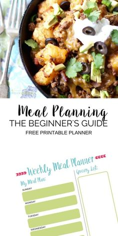 Meal Planning Ideas & Home Organization. Eliminate the stress of Family Meal Planning with this helpful guide. Find out how you can meal plan for your week in 10 minutes! | FREE Meal Plan Printable Template