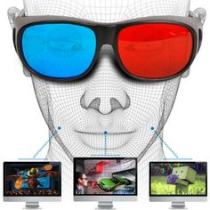 Universal Type Glasses TV Movie Dimensional Anaglyph Video Frame Vision Glasses DVD Game Glass Red And Blue Color Newest. Vision Glasses, 3d Glasses, Oakley Sunglasses, Mirrored Sunglasses, Bleu Cyan, Cinema Projector, Virtual Reality Glasses, Spy Kids, Hifi Audio