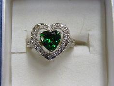 Valentine  CZ Green Heart Ring   sz 6 by BETTYSJEWELRYDESIGNS, $50.00