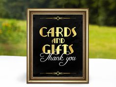 Signing cards and gifts. Thank you for signing for the wedding. Gatsby roaring party decorations Black and gold banners - birthday (mom) - Roaring 20s Birthday Party, Great Gatsby Themed Party, Gatsby Party, 1920s Party, Gatsby Wedding, 60th Birthday, Birthday Ideas, Open Bar Wedding, Speakeasy Party
