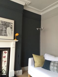 Farrow & Ball 'Down Pipe' Farrow And Ball Living Room, Grey Walls Living Room, Living Room Color Schemes, Gray Walls, Colour Schemes, Grey Wall Color, Farrow Ball, Front Rooms, Small Room Bedroom