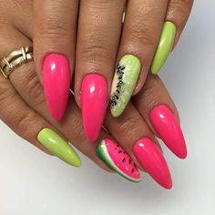 Yes I Can Can Nail Art Gel, Green Tea, Lemon Cake, Rainforest Artebrillante Gel, Paint Gel, Sugar Effect Gel, Ivory Gel Brush by Indigo Educator Magdalena Żuk #nails #nail #lemon #pink #kiwi #summer #indigo #fruit #wow #hot #fresh
