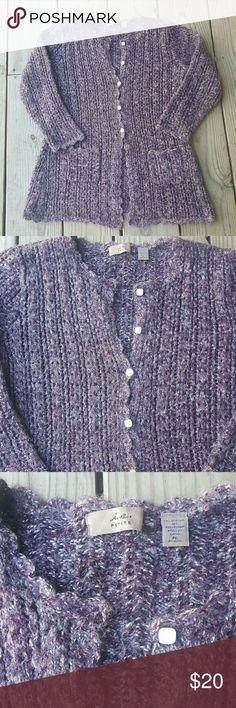 Cute INC cardigan sweater Crochet, poly/acrylic blend, Petite lg, pocketd INC International Concepts Sweaters Cardigans