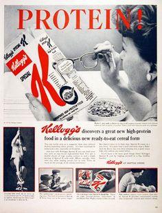 Retro advertising....1957 Kellogg's Special  K cereal #Breakfast #Cereal #Kellogs #Post