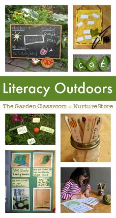 Literacy activities outdoors :: outdoor learning :: garden classroom ideas :: outdoor play spaces play areas eyfs The Garden Classroom Outdoor Education, Outdoor Learning Spaces, Early Education, Forest School Activities, Nature Activities, Outdoor Activities, Outdoor Play Ideas, Outdoor Games, Summer Activities