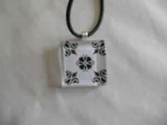 Black and White Glass Tile Pendant
