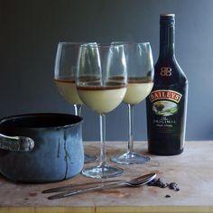 Bailey's Irish Cream Panna Cotta with Espresso Caramel