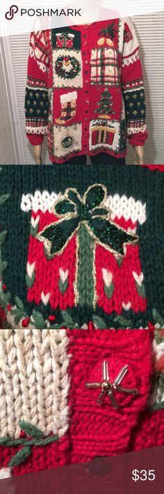 "Ugly Christmas Vintage Sweater Very Detailed EUC This sweater has I️t all. I️t has trees, presents, wreaths, ornaments, I️t is in excellent condition and comes from my non smoking home. Bust is 46"". Length is 23 1/2"". Sleeves are 21"".even the buttons are special!! Tiara Sweaters Cardigans"