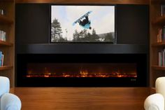 A wall-mounted Electric LED Fireplace is available and can be installed directly over the drywall. There is also a LED electric fireplace available as an insert version. #electricfireplace #fireplace #home #homeideas