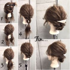 Summer hairstyles: rubber 3 pins 2 pins Divided into 2 upper and lower 2 . Summer Hairstyles, Up Hairstyles, Pretty Hairstyles, Simple Hairstyles, Curly Hair Braids, Curly Hair Styles, Hair Upstyles, Hair Arrange, Hair Setting