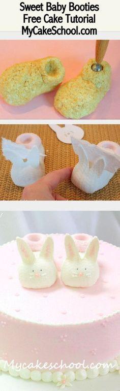 Sweet Bunny Baby Booties! Free cake decorating blog tutorial by MyCakeSchool.com! Online Cake Decorating Tutorials, Videos, & Recipes!