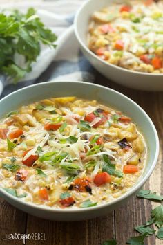 Southwestern Potato and Corn Chowder. This Southwestern Potato and Corn Chowder is simple to make with leftover grilled vegetables and has a great smoky flavor! Potato Corn Chowder, Chowder Soup, Chowder Recipes, Chili Recipes, Soup Recipes, Recipies, How To Cook Chili, The Recipe Rebel, Loaded Baked Potato Soup