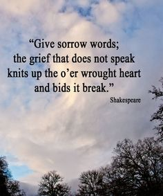 Give Sorrow Words – Shakespeare Sad Quote