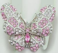 Pale Pink Butterfly Ring/Silver/Rhinestone/Gift For http://www.giftideascorner.com/gifts-for-artists/