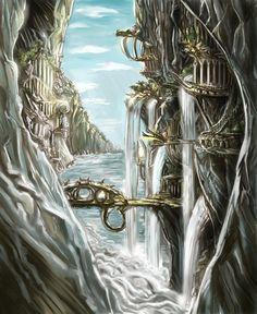 Stock Landscapes: Elven City Elven city Fantasy concept art Elven