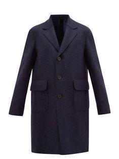 HARRIS WHARF LONDON HARRIS WHARF LONDON - SINGLE BREASTED FELTED VIRGIN WOOL OVERCOAT - MENS - BLUE. #harriswharflondon #cloth