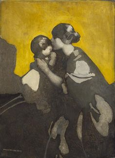 Norah Neilson Gray'Mother and Child' early 1920s.After World War One,Gray built up her portrait practice, based in her studio at 141 Bath Street, Glasgow. She produced decorative but unsentimental images of young women and children. Her paintings are characterised by the unconventional placing of figures, unusual colour schemes and shadow patterns, as in Mother and Child.