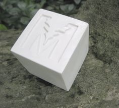 """Mina's Green Cleaning Inc. Soap Bar Plaster Prototype. Square Cube Shape with straight edges, inset design. 2.125"""" x 2.125"""" x 2.125"""" thick. Company located in New York and Florida, United States."""