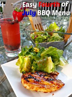 Perfect Fourth of July BBQ Menu Ideas and Recipes. Red white and blue lemonade, bbq chicken on the grill, homemade bbq sauce salad dressing and salad, and chocolate bark s'mores to finish off the meal! You'll want to #FireUpTheGrill now to enjoy this delicious holiday meal! No fancy ingredients either; everything you need is @Walmart. AD
