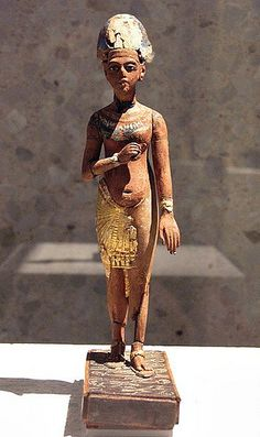 "Standing/striding figure of Akhenaten. Akhenaten (also spelled Echnaton, Akhenaton, Ikhnaton, and Khuenaten; meaning ""Living Spirit of Aten""). Akhenaten was known before the 5th year of his reign as Amenhotep IV (sometimes given its Greek form, Amenophis IV, and meaning ""Amun is Satisfied""). He was a Pharaoh of the 18th Dynasty in Egypt, who ruled for 17 years and died perhaps in 1336 BC or 1334 BC."
