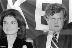 A Democratic event , Former First lady Jackie Kennedy Onassis endorses her fomer Brother in law Ted Kennedy for President  in the 1980 election