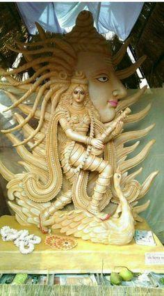Saraswati Murti, Durga Ji, Saraswati Statue, Saraswati Goddess, Shri Hanuman, Mahakal Shiva, Shiva Art, Hindu Art, Durga Images