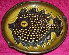 Teifi Wales Sgraffito Slipware Pottery Fish Decorated Dish