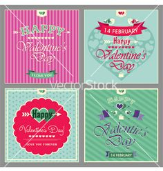 Happy valentines day cards vector - by Ermine on VectorStock®