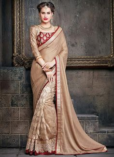 Rosy Brown Chiffon & Super Net Saree with Plain Pallu ,Indian Dresses