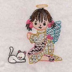 "This free embroidery design is from Design by Sick's ""Mylar Cute Angels"" collection."