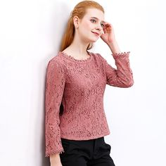 ONLY PLUS Women Lace Long Sleeve Solid Blouse Shirts Femme Hollow Out O neck Autumn Winter. Click visit to buy #Blouse #Shirt #BlouseShirt