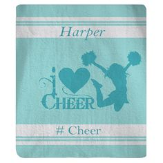 NEW Personalized Varsity Style I Heart Cheer Blanket  by redbeauty