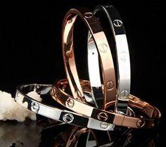 Cartier bracelets set of 3 Black Diamond Bracelet, Gold Bangle Bracelet, Diamond Bracelets, Love Bracelets, Gold Bangles, Fashion Bracelets, Jewelry Bracelets, Jewlery, Silver Bracelets For Women