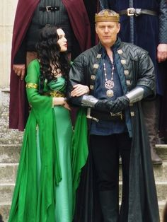A nearly full-length shot of that gorgeous green silk gown worn by Katie McGrath as Morgana in Merlin on the BBC