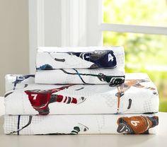 Lodge Ice Hockey Flannel Sheet Set #pbkids
