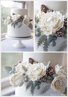 Winter wedding cake floral/pinecone