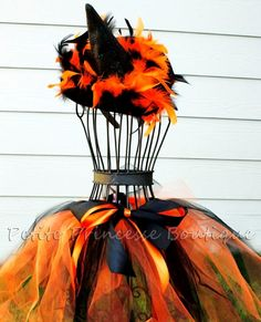 witch costumes made from tull | Little Witch Costume Tutu Set. Orange Black Feathers Matching Hat ...