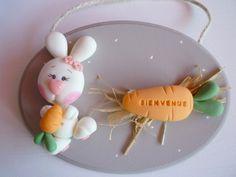 plaque de porte lapin blanc et carotte