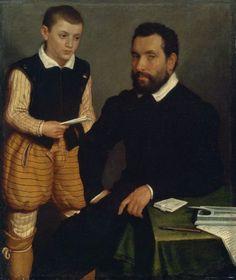 Portrait of a Man and a Boy (Count Alborghetti & Son) by Giovanni Battista Moroni 1550