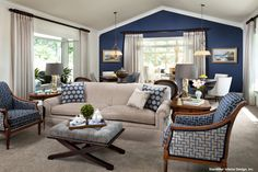 15 Lovely Living Room Designs with Blue Accents                              …